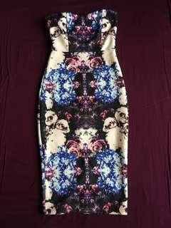 Doublewoot Multicoloured Abstract Floral Bodycon Dress