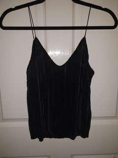 BNWT Sportsgirl Black Crinkle Crop Top Size XS