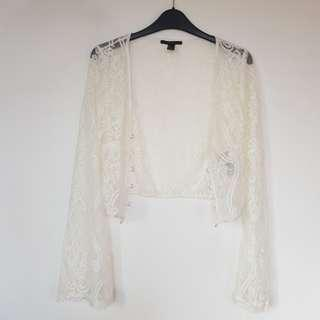 F21 White Lace Cropped Cover up