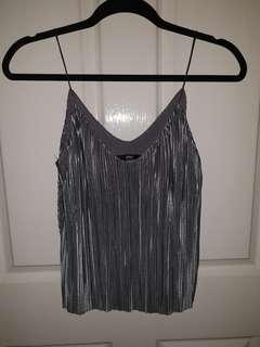 BNWT Sportsgirl Metallic Grey Crinkle Crop Top Size XS
