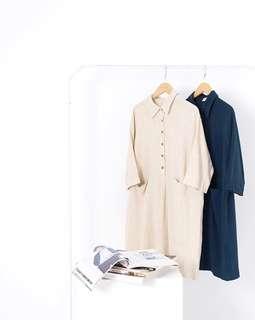 🚚 Queenshop 質感純色襯衫領口袋洋裝 全新 售米色