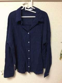 SM2藏青藍V領襯衫
