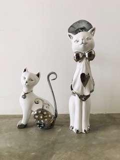 Cat Ceramic 2pc Set Deco Collector Vintage - Animal Statue