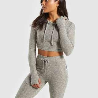 GYMSHARK SLOUNGE LEGGINGS AND HOODIE SET IN WASHED KHAKI MARL