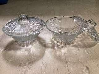 Glass display ware with cover
