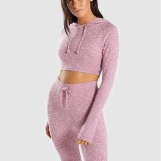 GYMSHARK SLOUNGE LEGGINGS AND HOODIE SET IN DUSKY PINK MARL