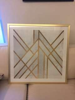 Geometric painting silver & gold with gold frame