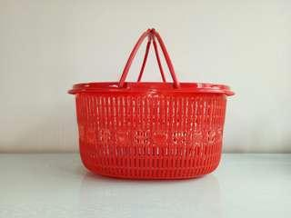 Vintage red basket with handle oval size perfect