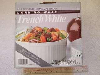 Corning Ware 2.5L 康寧煲純白色圓形2.5公斤