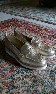 Gold Ladies Platform Loafers