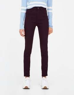 Pull&Bear Maroon High Waisted Skinny Trouser