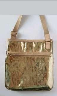 Auth Michael Kors Gold Metallic Sling Bag EUV