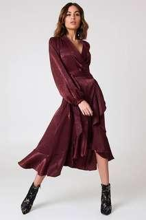Burgundy Wrap Dress - NEW Size 12