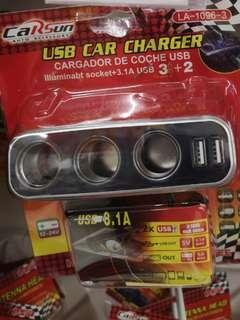 USB car charger cigarette 3 + 2