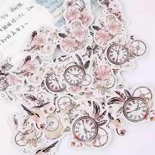 🚚 [In stock] 44 Pcs Romantic Floral Clock Stickers for Planner Journal and Scrapbook