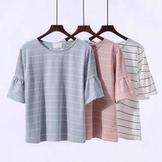 ✨正韓 條紋喇叭袖✨ 粉色 短袖T恤 質感小清新