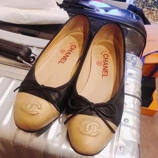 Chanel ballerina flats Black/gold Size 35