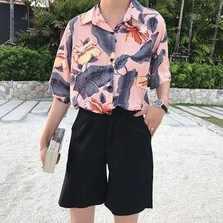 floral button down collared oversize top