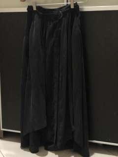 Pre loved H&M midi long skirt black grey XS (32)