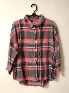 🚚 粉灰格紋襯衫