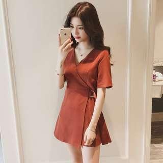 Orange Office Wear Formal Dress