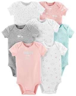 Brand New Instock Carter's 7 Pc Short Sleeve Rompers Bodysuits Onesies Set Girls