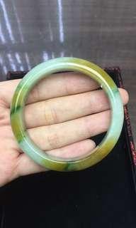 翡翠手镯 天然翡翠 黃加綠