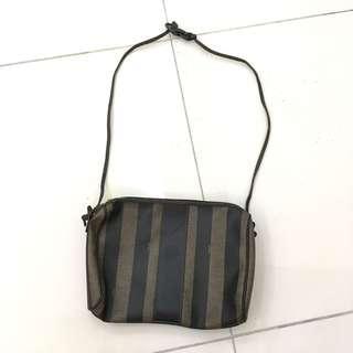 Vintage Fendi stripe shoulder sling lightweight purse bag