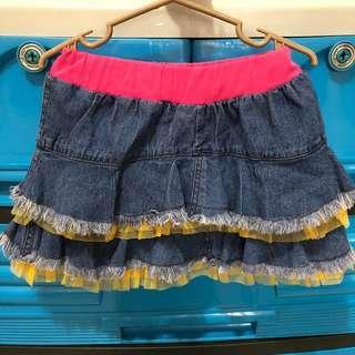 Soft Blue Denim Ruffled Skirt