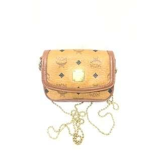 MCM Monogram with Gold Plated Mini Chain Flap Crossbody Bag