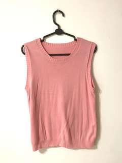 🚚 豆沙色 粉紅外搭細針織毛衣背心