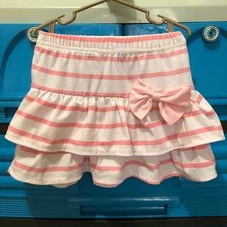 Pink Stripe Skirt Ruffled