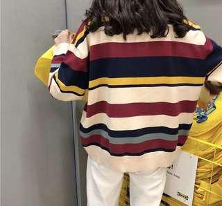 條紋長袖針織上衣