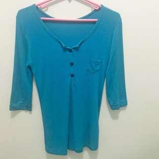 Blue Green Fitted Top