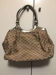 Gold and Brown Patterned Fabric and Leather Handbag