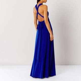 Multi-Tie Dress in Cobalt Blue