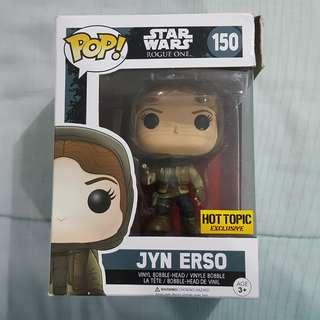 Legit Brand New With Box Funko Pop Star Wars Rogue One Jyn Erso Hood Toy Figure Hot Topic Exclusive