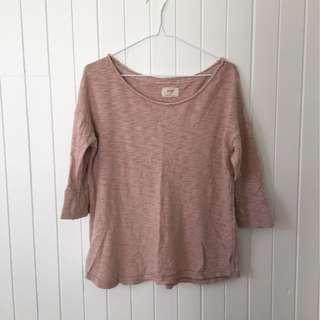 Aerie 3/4 Sleeve Blush Pink Top