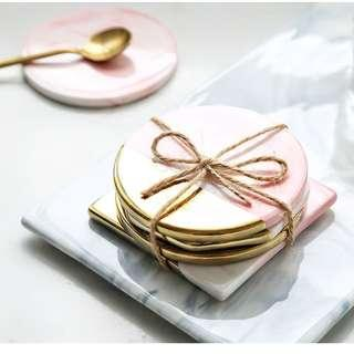 [NEW] Pink Marble Accent Coaster