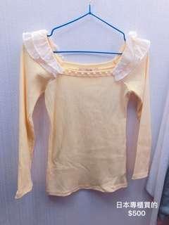 🚚 鵝黃珍珠裝飾上衣