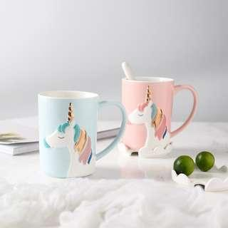 🚚 Pastel Unicorn Cup with Lid + Spoon