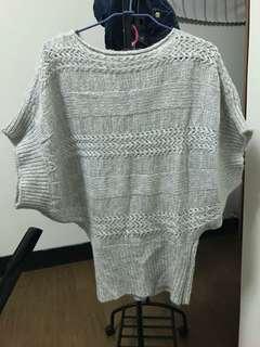 🚚 灰色針織罩衫 長版
