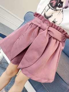 韓版童裝出清➰紫紅色蝴蝶結造型短褲 11號