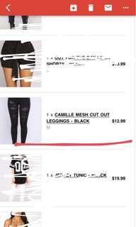 Fashion nova mesh cut leggins
