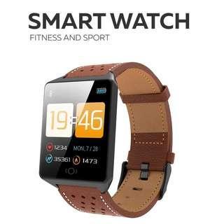 全防水 真皮錶帶- WHATSAPP WECHAT FB IG 信息提示/來電顯示/運動模式/遙控音樂/血壓,心率監測/卡路里計算 /計步器/睡眠監測 Bluetooth smart watch IP67 (Black)