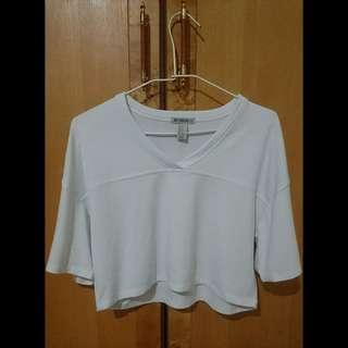 🚚 (全新吊牌) Forever21 白色露肚短版造型t恤短袖