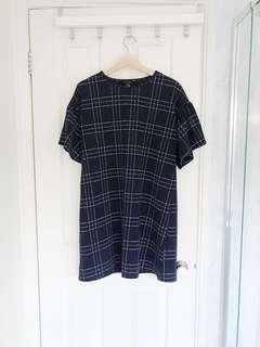 Ruffle sleeved navy dress