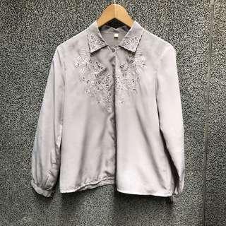 🚚 古著 灰色日本鏤空 古著襯衫