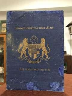 Persekutuan Tanah Melayu Malaya - Teacher's Certificate Book
