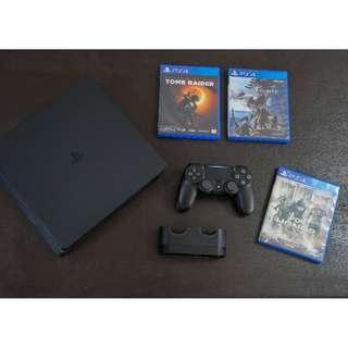 4 Months Old PS4 Slim with Games Charging Dock and PS PLUS account